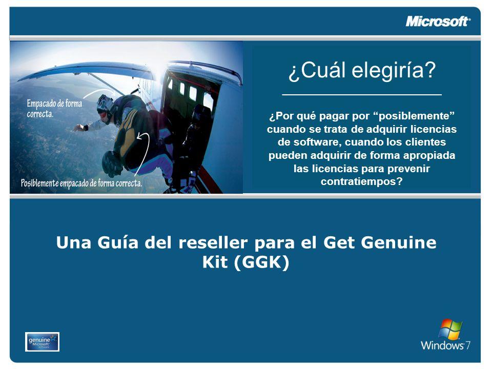 El reseller adquiere el Get Genuine Kit con un distribuidor OEM de Microsoft autorizado.