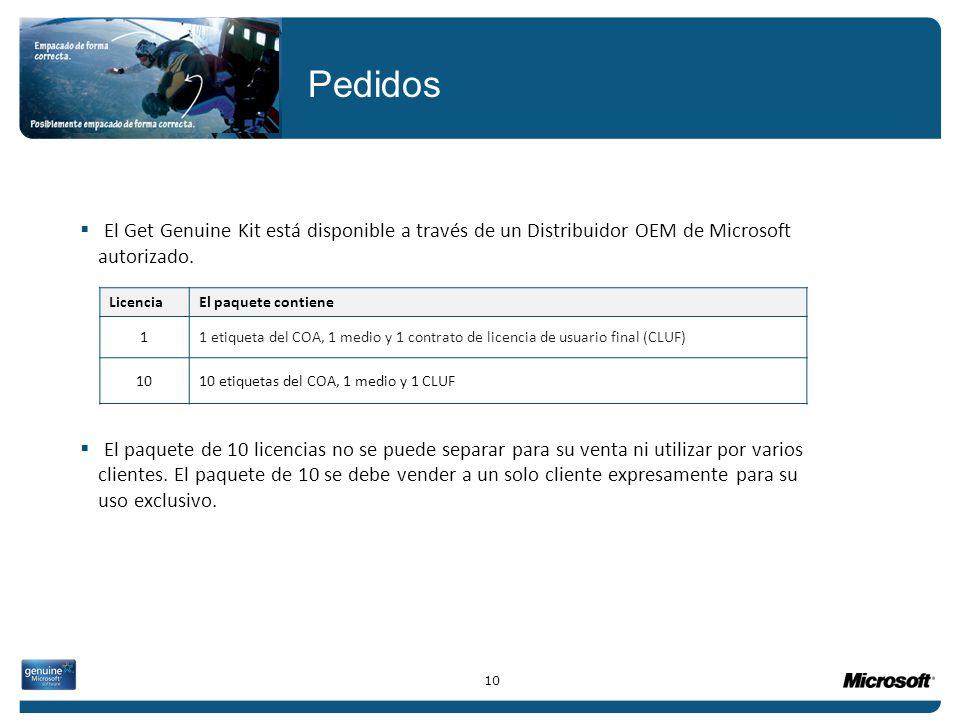 El Get Genuine Kit está disponible a través de un Distribuidor OEM de Microsoft autorizado. El paquete de 10 licencias no se puede separar para su ven