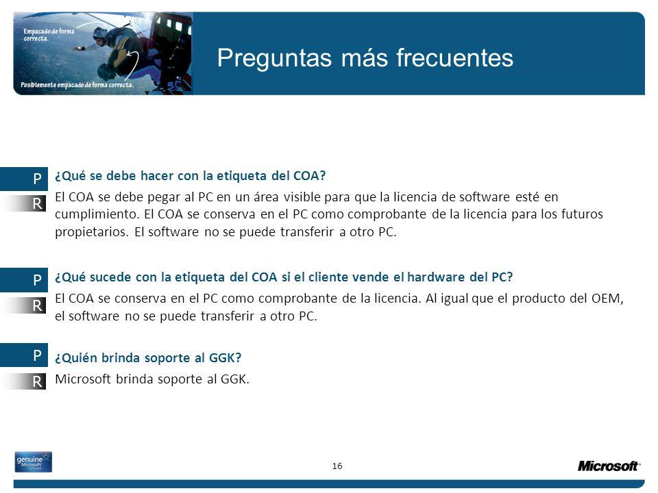 ¿Qué se debe hacer con la etiqueta del COA? El COA se debe pegar al PC en un área visible para que la licencia de software esté en cumplimiento. El CO