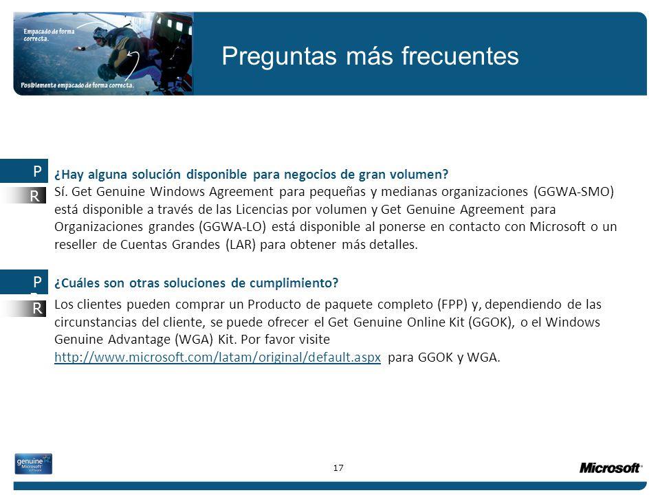 ¿Hay alguna solución disponible para negocios de gran volumen? Sí. Get Genuine Windows Agreement para pequeñas y medianas organizaciones (GGWA-SMO) es