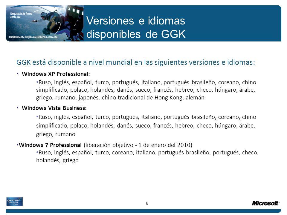 GGK está disponible a nivel mundial en las siguientes versiones e idiomas: Windows XP Professional: Ruso, inglés, español, turco, portugués, italiano,