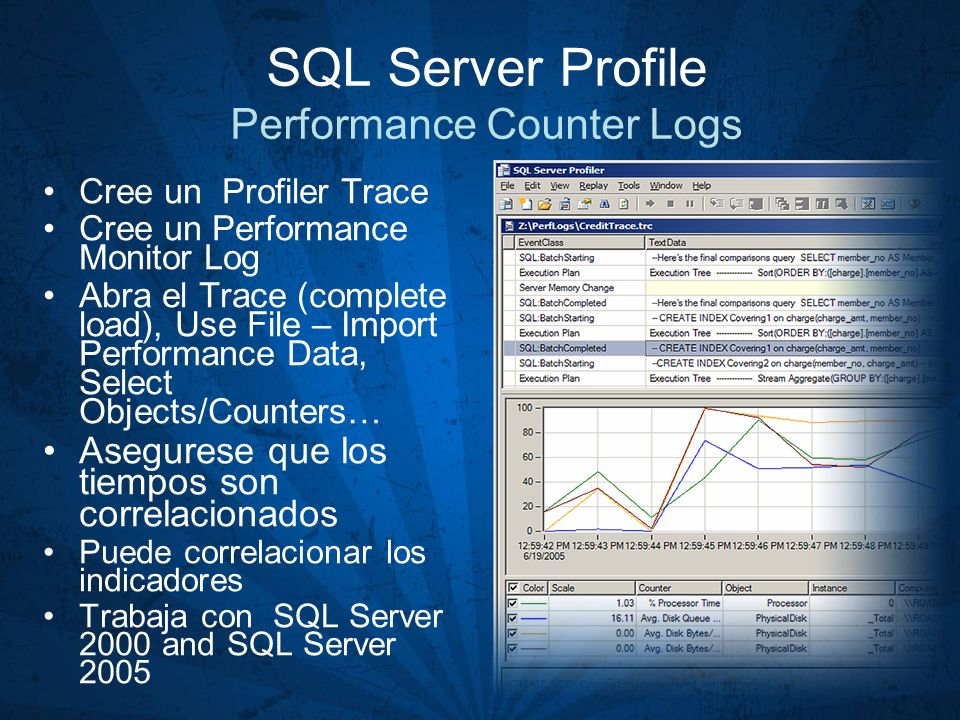 SQL Server Profile Performance Counter Logs Cree un Profiler Trace Cree un Performance Monitor Log Abra el Trace (complete load), Use File – Import Pe