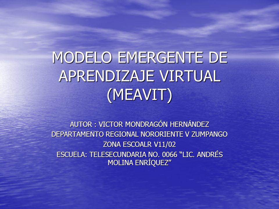 MODELO EMERGENTE DE APRENDIZAJE VIRTUAL (MEAVIT) AUTOR : VICTOR MONDRAGÓN HERNÁNDEZ DEPARTAMENTO REGIONAL NORORIENTE V ZUMPANGO ZONA ESCOALR V11/02 ES