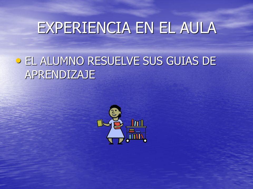 EXPERIENCIA EN EL AULA EL ALUMNO RESUELVE SUS GUIAS DE APRENDIZAJE EL ALUMNO RESUELVE SUS GUIAS DE APRENDIZAJE