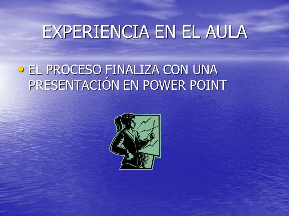 EXPERIENCIA EN EL AULA EL PROCESO FINALIZA CON UNA PRESENTACIÓN EN POWER POINT EL PROCESO FINALIZA CON UNA PRESENTACIÓN EN POWER POINT