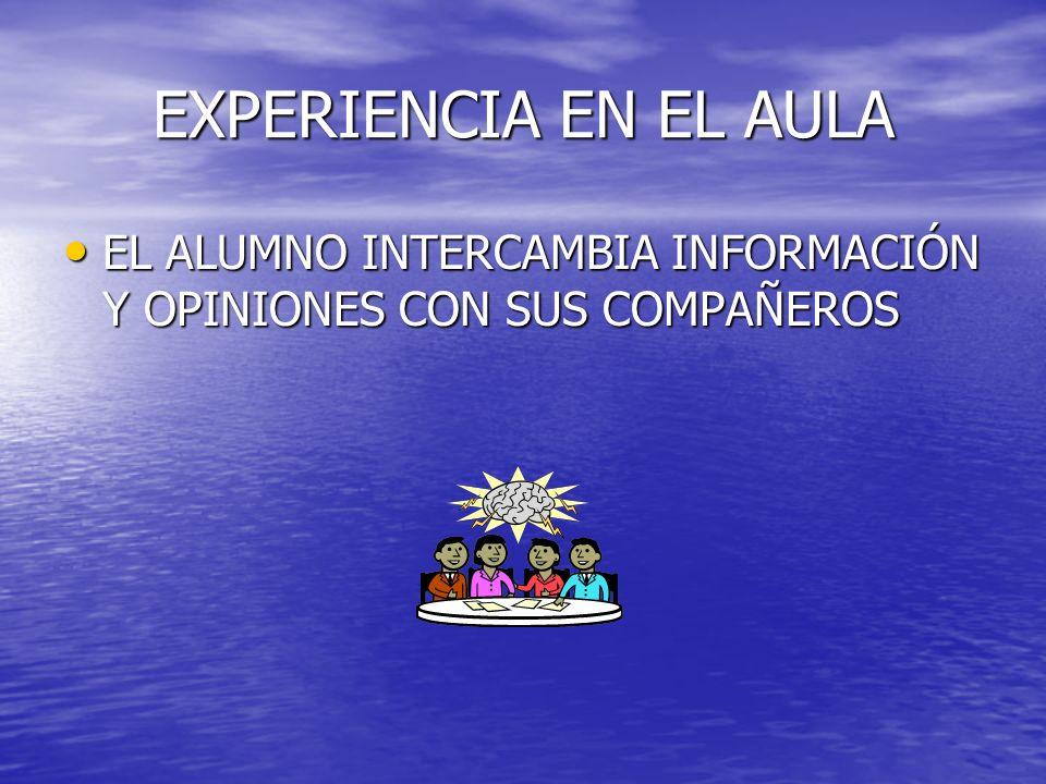 EXPERIENCIA EN EL AULA EL ALUMNO INTERCAMBIA INFORMACIÓN Y OPINIONES CON SUS COMPAÑEROS EL ALUMNO INTERCAMBIA INFORMACIÓN Y OPINIONES CON SUS COMPAÑER
