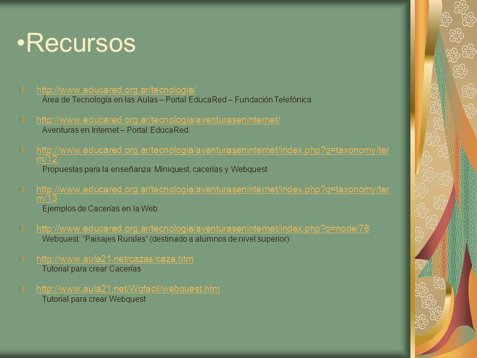 Recursos http://www.educared.org.ar/tecnologia/ Área de Tecnología en las Aulas – Portal EducaRed – Fundación Telefónica http://www.educared.org.ar/te