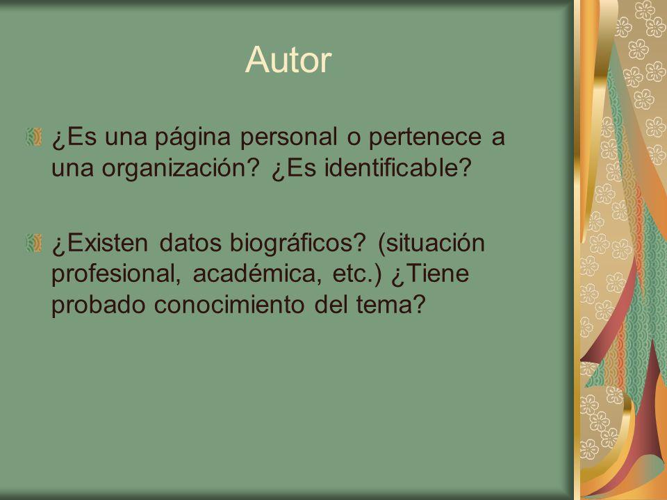 Autor ¿Es una página personal o pertenece a una organización? ¿Es identificable? ¿Existen datos biográficos? (situación profesional, académica, etc.)