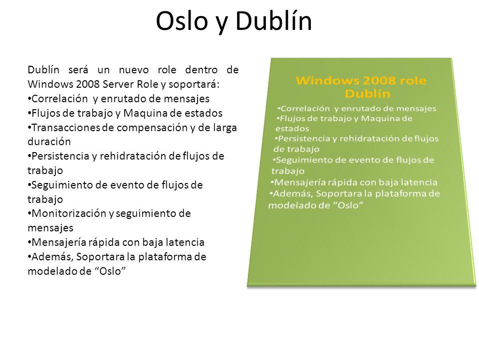 Dublín será un nuevo role dentro de Windows 2008 Server Role y soportará: Correlación y enrutado de mensajes Flujos de trabajo y Maquina de estados Tr