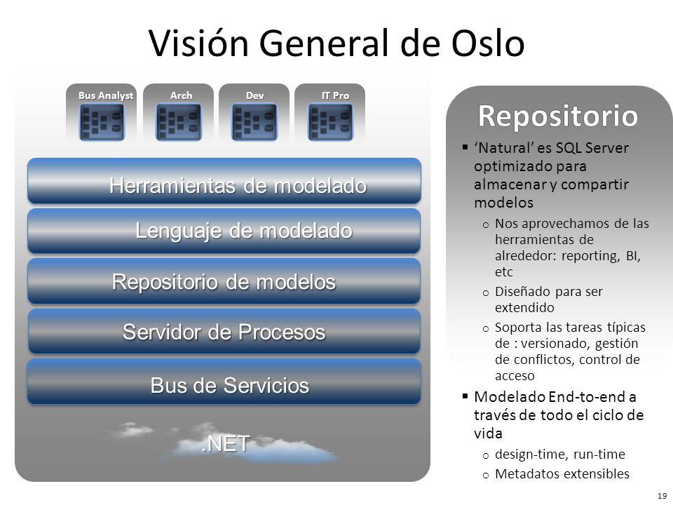 Bus de Servicios Repositorio de modelos Herramientas de modelado Servidor de Procesos Lenguaje de modelado Bus Analyst ArchDev IT Pro 19 Visión Genera