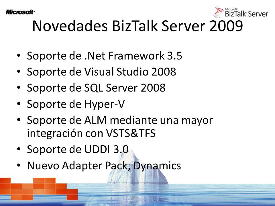 Novedades BizTalk Server 2009 Soporte de.Net Framework 3.5 Soporte de Visual Studio 2008 Soporte de SQL Server 2008 Soporte de Hyper-V Soporte de ALM