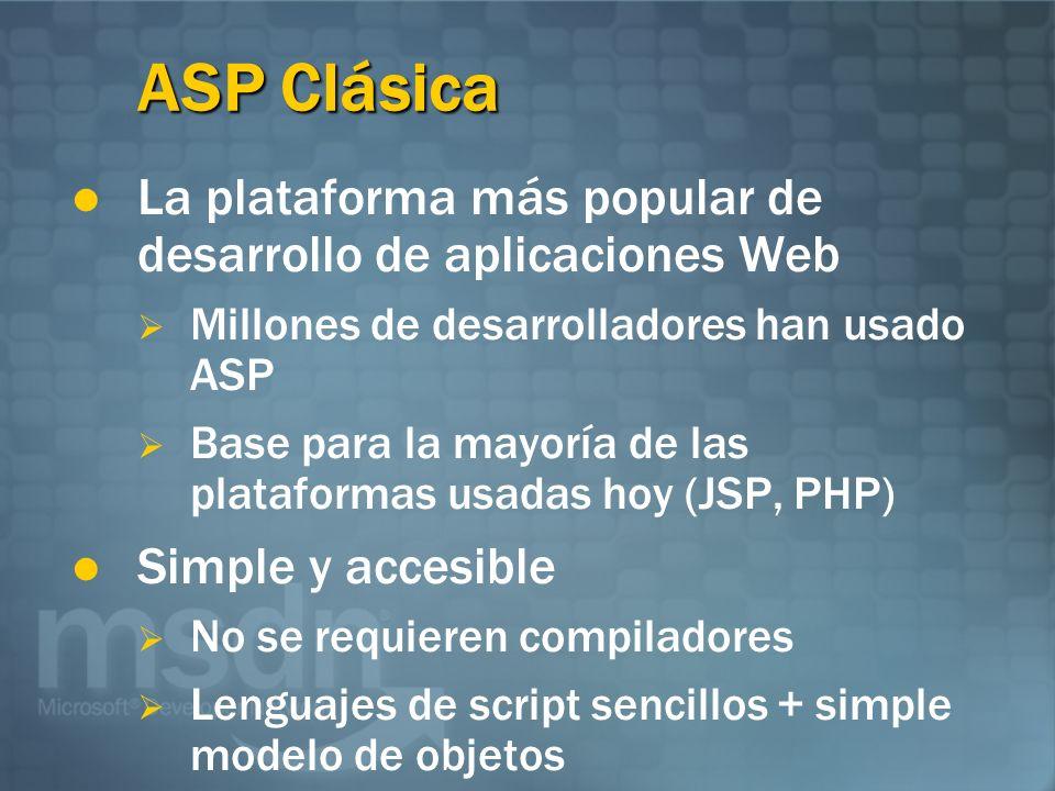 ASP Clásica La plataforma más popular de desarrollo de aplicaciones Web Millones de desarrolladores han usado ASP Base para la mayoría de las plataformas usadas hoy (JSP, PHP) Simple y accesible No se requieren compiladores Lenguajes de script sencillos + simple modelo de objetos