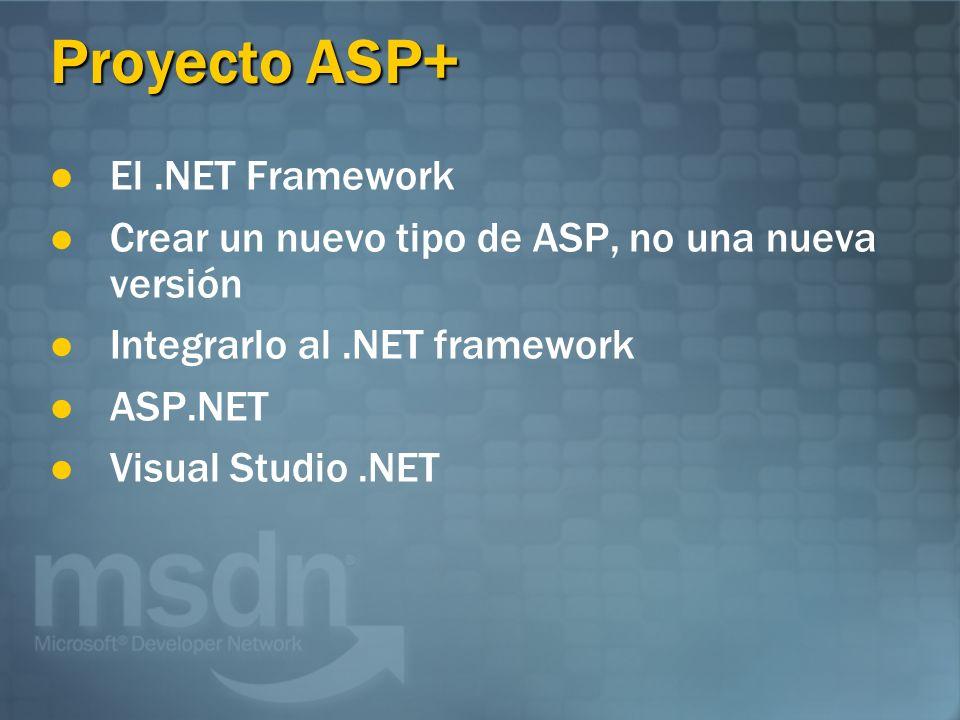 Proyecto ASP+ El.NET Framework Crear un nuevo tipo de ASP, no una nueva versión Integrarlo al.NET framework ASP.NET Visual Studio.NET