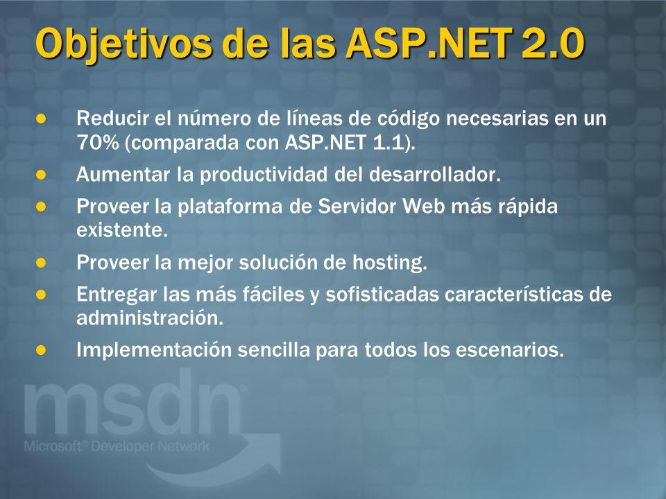 Objetivos de las ASP.NET 2.0 Reducir el número de líneas de código necesarias en un 70% (comparada con ASP.NET 1.1).