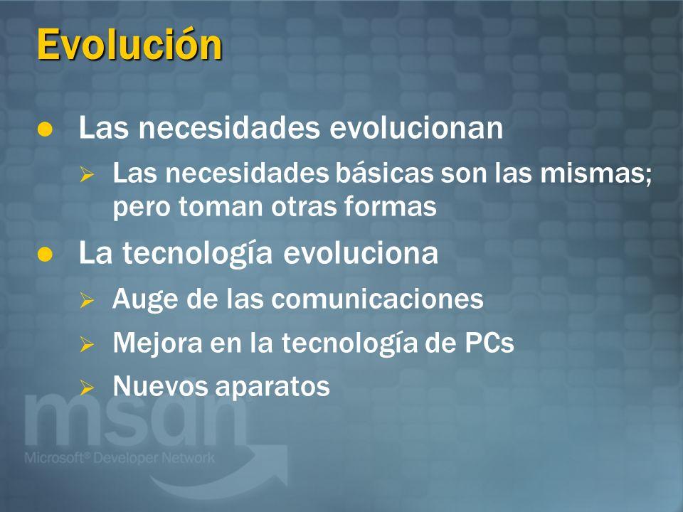 Evolución Las necesidades evolucionan Las necesidades básicas son las mismas; pero toman otras formas La tecnología evoluciona Auge de las comunicaciones Mejora en la tecnología de PCs Nuevos aparatos