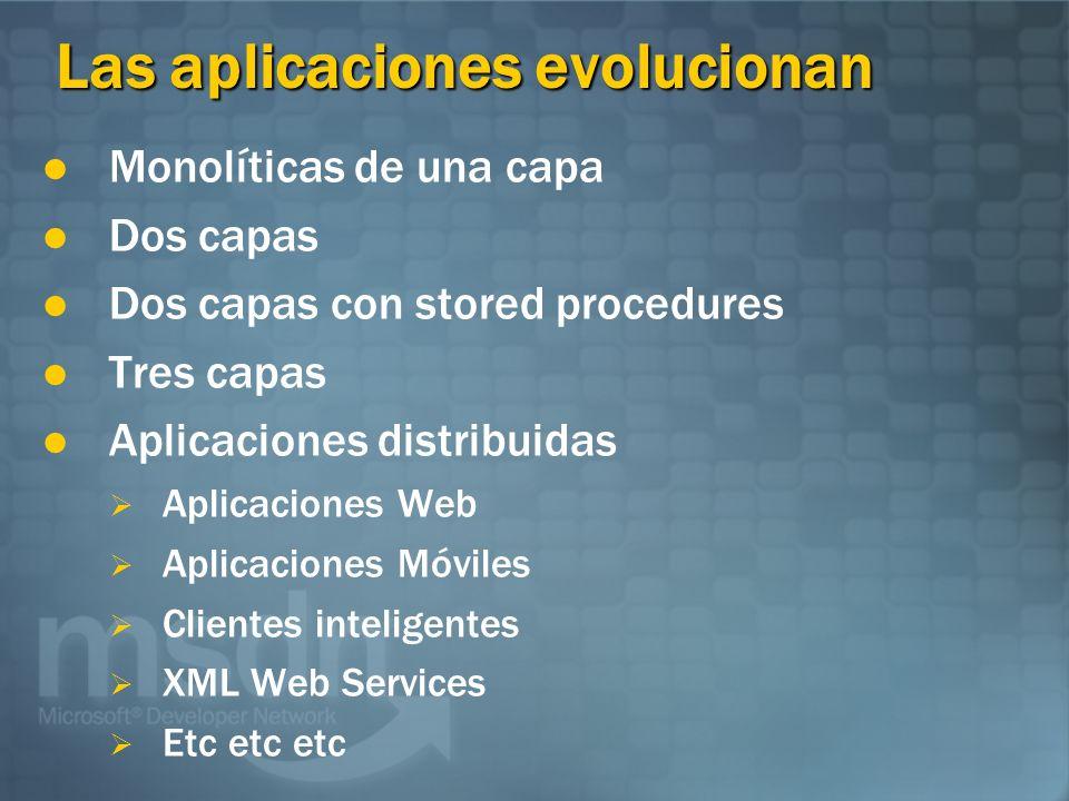 Las aplicaciones evolucionan Monolíticas de una capa Dos capas Dos capas con stored procedures Tres capas Aplicaciones distribuidas Aplicaciones Web Aplicaciones Móviles Clientes inteligentes XML Web Services Etc etc etc