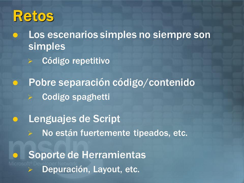 Retos Los escenarios simples no siempre son simples Código repetitivo Pobre separación código/contenido Codigo spaghetti Lenguajes de Script No están fuertemente tipeados, etc.
