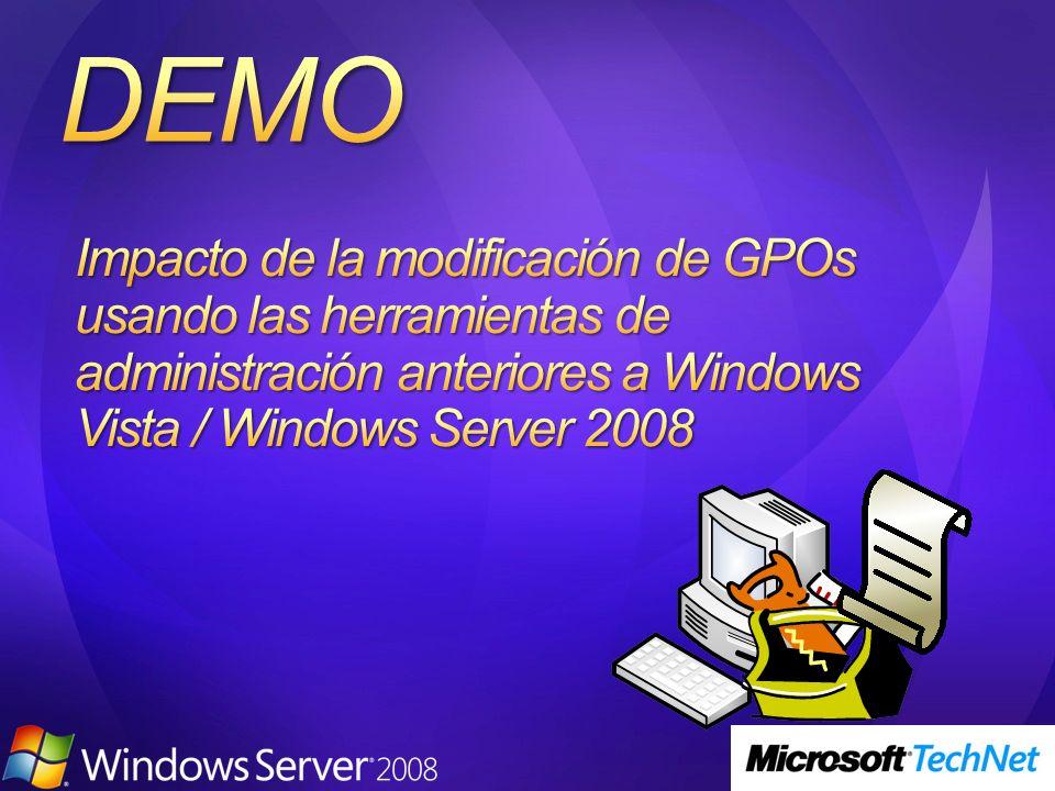 ADMX Migrator el una herramienta que convierte plantillas existentes en formato ADM al nuevo formato ADMX Ofrece Interfaz Gráfica para crear y editar Plantillas Administrativas Pueden seleccionarse varios ficheros ADM para su conversión Disponibilidad de ADMX Migrator: http://go.microsoft.com/fwlink/?LinkId=77409 http://go.microsoft.com/fwlink/?LinkId=77409