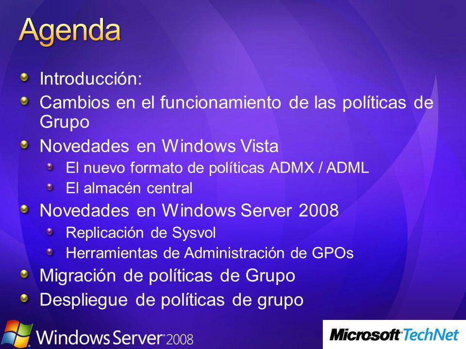 Introducción: Cambios en el funcionamiento de las políticas de Grupo Novedades en Windows Vista El nuevo formato de políticas ADMX / ADML El almacén c