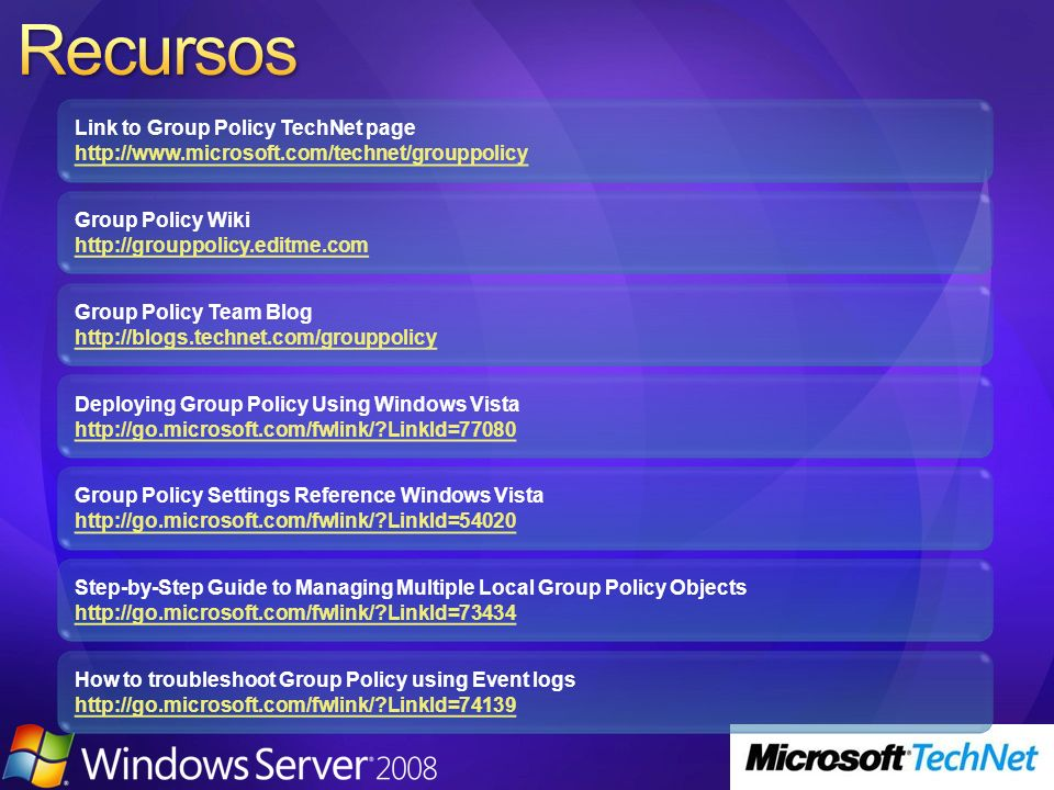 Link to Group Policy TechNet page http://www.microsoft.com/technet/grouppolicy http://www.microsoft.com/technet/grouppolicy Deploying Group Policy Usi