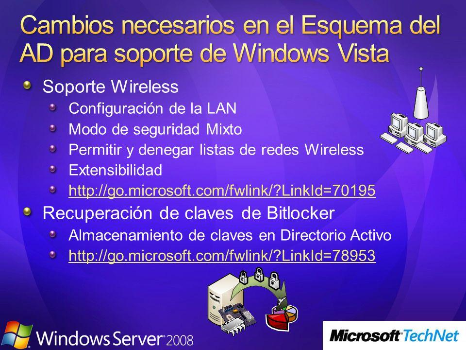 Soporte Wireless Configuración de la LAN Modo de seguridad Mixto Permitir y denegar listas de redes Wireless Extensibilidad http://go.microsoft.com/fw