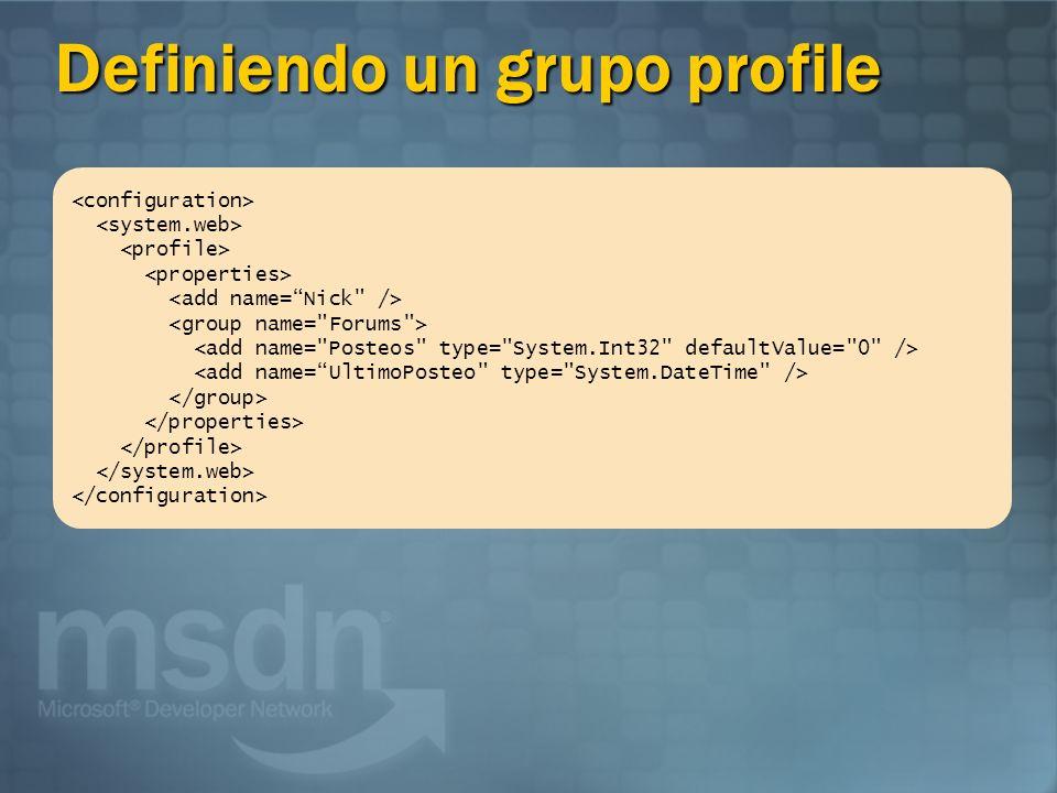 Definiendo un grupo profile