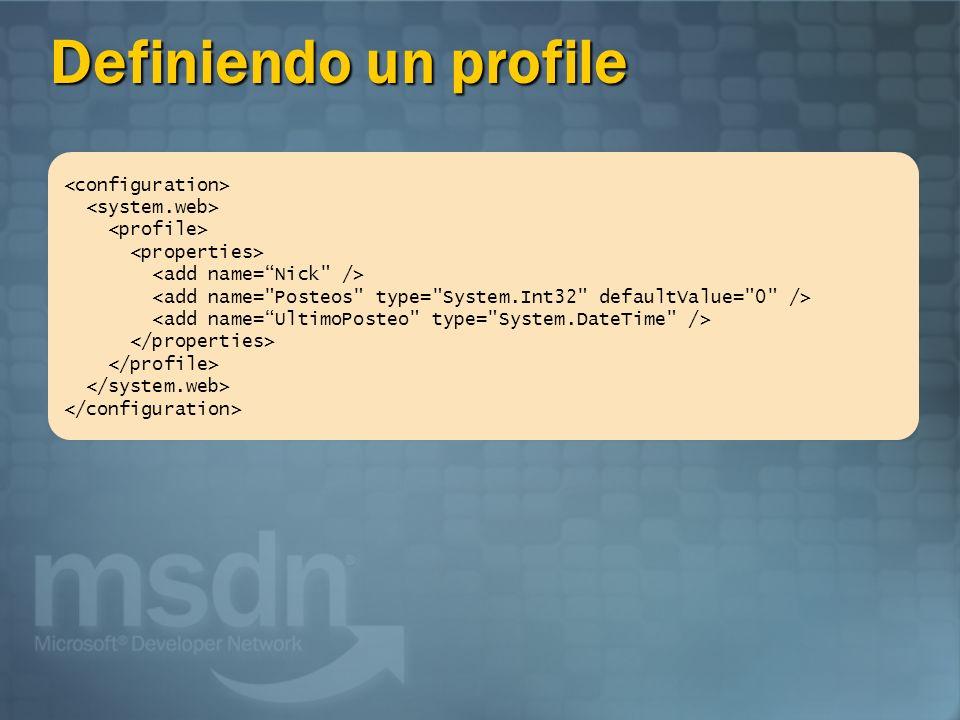 Usando una Profile // Incrementa el número de post del usuario Profile.Posteos = Profile.Posts + 1; // Actualiza la fecha del ultimo posteo Profile.UltimoPosteo = DateTime.Now;