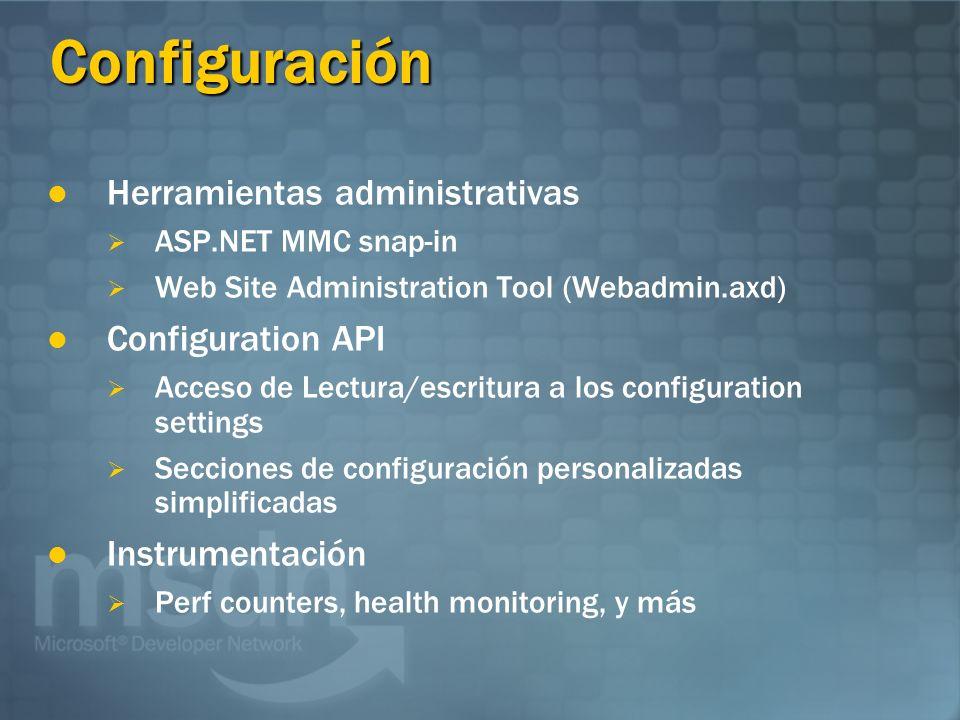 Configuración Herramientas administrativas ASP.NET MMC snap-in Web Site Administration Tool (Webadmin.axd) Configuration API Acceso de Lectura/escritu