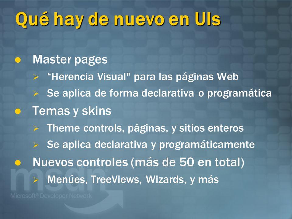 Qué hay de nuevo en UIs Master pages Herencia Visual