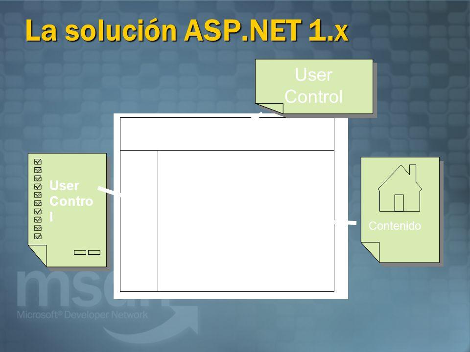 La solución ASP.NET 1.x User Contro l Contenido User Control