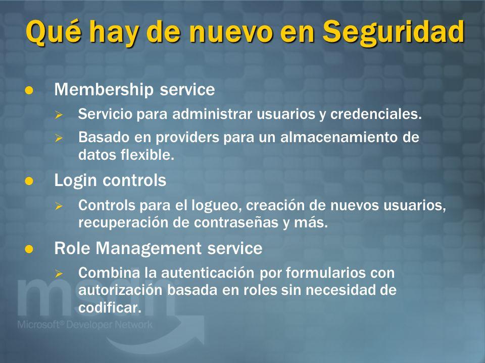 Qué hay de nuevo en Seguridad Membership service Servicio para administrar usuarios y credenciales. Basado en providers para un almacenamiento de dato