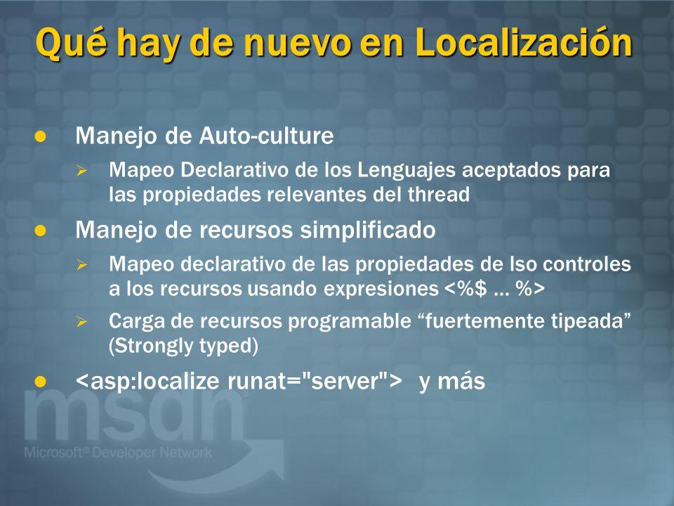 Qué hay de nuevo en Localización Manejo de Auto-culture Mapeo Declarativo de los Lenguajes aceptados para las propiedades relevantes del thread Manejo