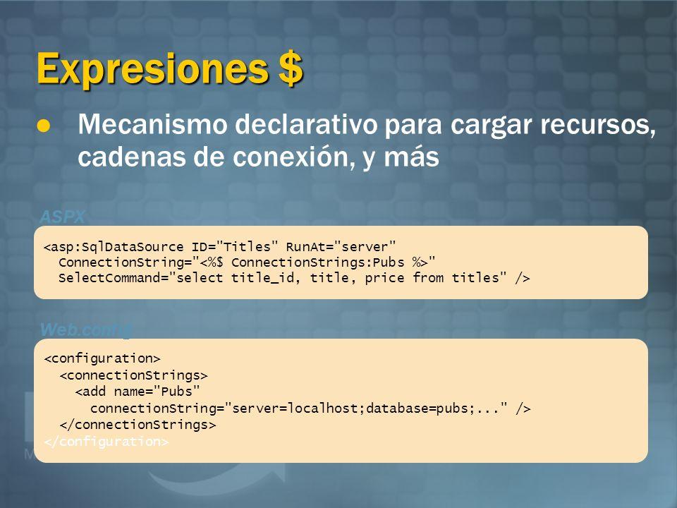 Expresiones $ <asp:SqlDataSource ID= Titles RunAt= server ConnectionString= SelectCommand= select title_id, title, price from titles /> <add name= Pubs connectionString= server=localhost;database=pubs;... /> ASPX Web.config Mecanismo declarativo para cargar recursos, cadenas de conexión, y más
