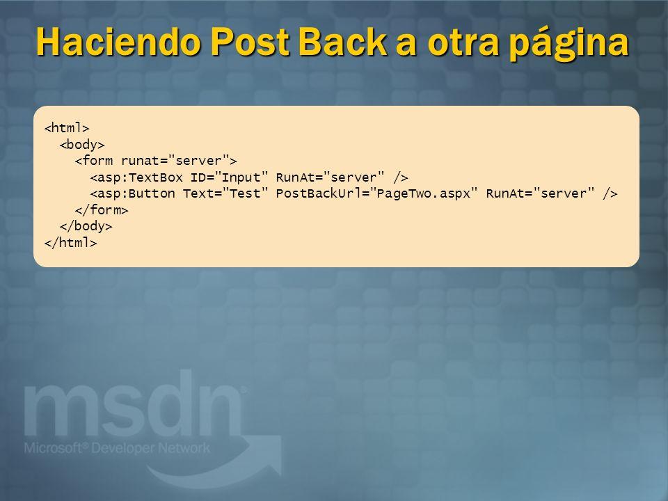 Haciendo Post Back a otra página