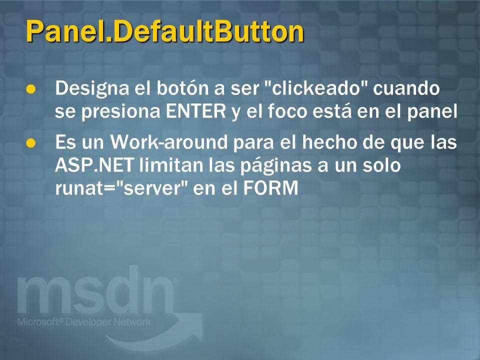 Panel.DefaultButton Designa el botón a ser