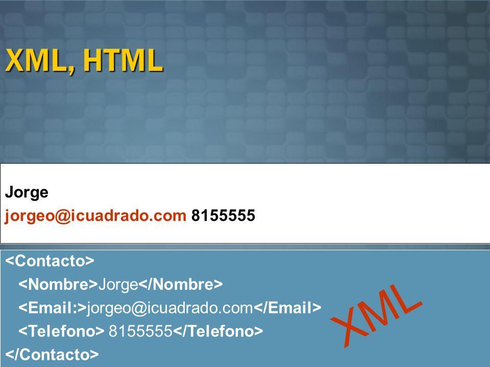 XML, HTML Jorge jorgeo@icuadrado.com 8155555 Jorge jorgeo@icuadrado.com 8155555 Jorge jorgeo@icuadrado.com 8155555 XML