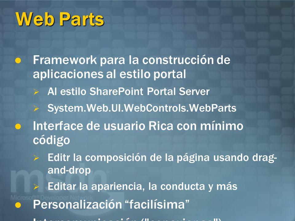 Web Parts Framework para la construcción de aplicaciones al estilo portal Al estilo SharePoint Portal Server System.Web.UI.WebControls.WebParts Interf
