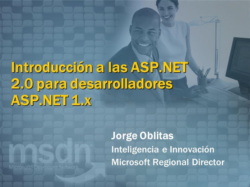 Introducción a las ASP.NET 2.0 para desarrolladores ASP.NET 1.x Jorge Oblitas Inteligencia e Innovación Microsoft Regional Director