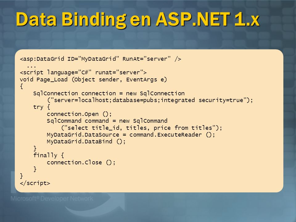 Data Binding en ASP.NET 1.x...