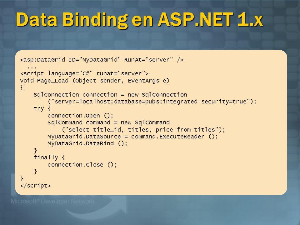 Data Binding en ASP.NET 2.0 <asp:SqlDataSource ID= Titles RunAt= server ConnectionString= server=localhost;database=pubs;integrated security=true SelectCommand= select title_id, title, price from titles />
