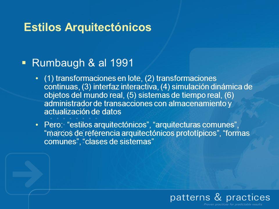 Estilos Arquitectónicos Rumbaugh & al 1991 (1) transformaciones en lote, (2) transformaciones continuas, (3) interfaz interactiva, (4) simulación diná