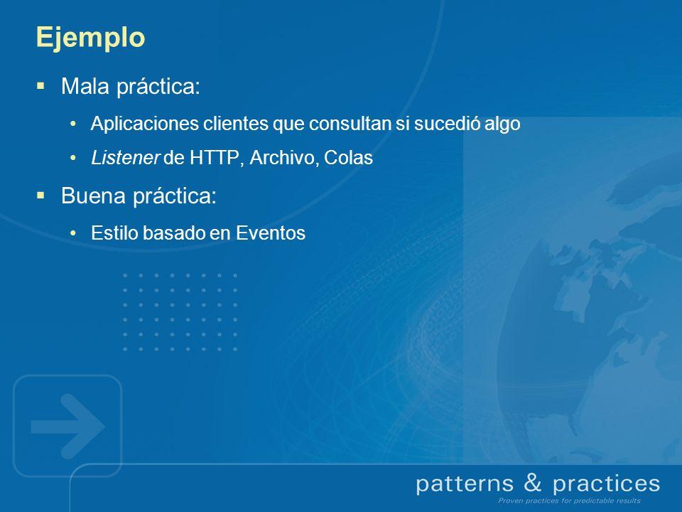 Ejemplo Mala práctica: Aplicaciones clientes que consultan si sucedió algo Listener de HTTP, Archivo, Colas Buena práctica: Estilo basado en Eventos