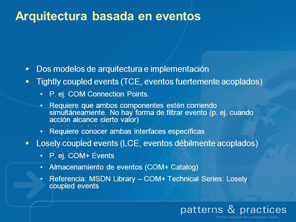 Arquitectura basada en eventos Dos modelos de arquitectura e implementación Tightly coupled events (TCE, eventos fuertemente acoplados) P. ej. COM Con