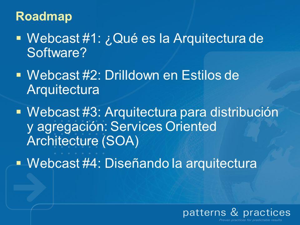 Roadmap Webcast #1: ¿Qué es la Arquitectura de Software? Webcast #2: Drilldown en Estilos de Arquitectura Webcast #3: Arquitectura para distribución y