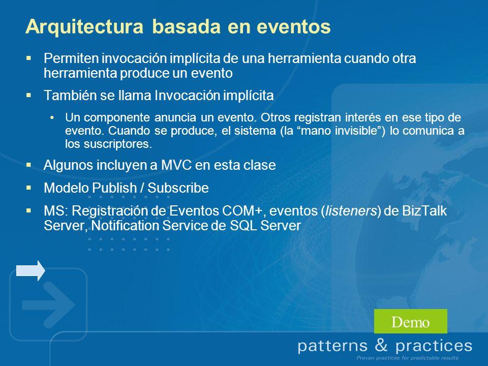 Arquitectura basada en eventos Permiten invocación implícita de una herramienta cuando otra herramienta produce un evento También se llama Invocación