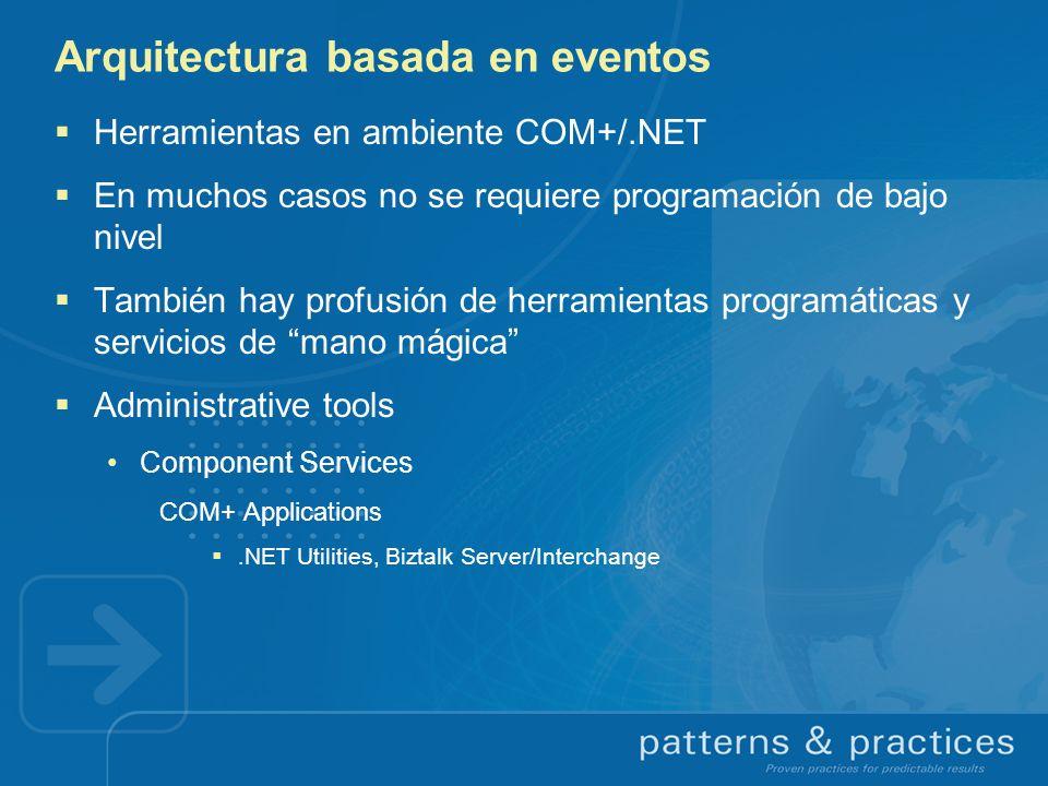 Arquitectura basada en eventos Herramientas en ambiente COM+/.NET En muchos casos no se requiere programación de bajo nivel También hay profusión de h