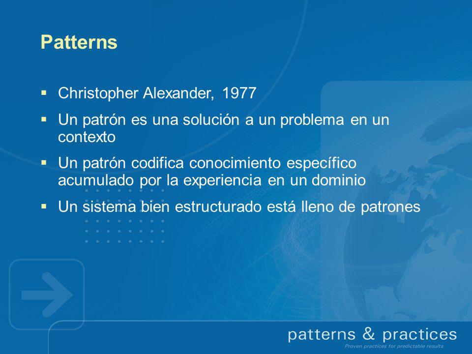 Patterns Christopher Alexander, 1977 Un patrón es una solución a un problema en un contexto Un patrón codifica conocimiento específico acumulado por l
