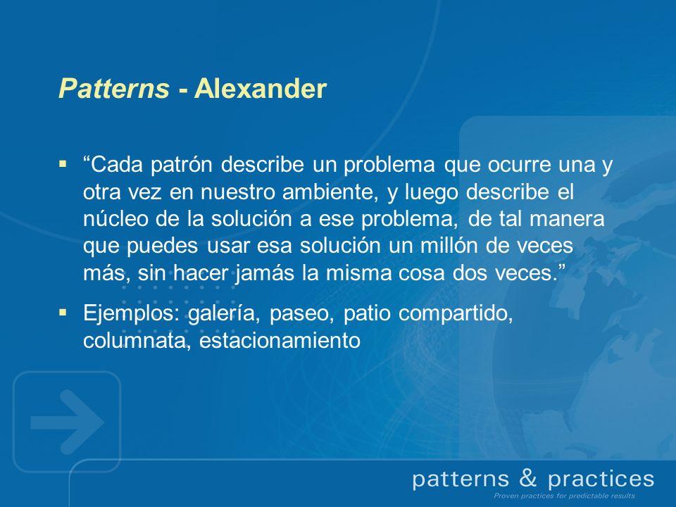 Patterns - Alexander Cada patrón describe un problema que ocurre una y otra vez en nuestro ambiente, y luego describe el núcleo de la solución a ese p