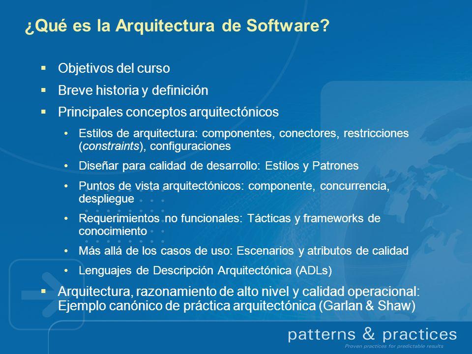 Objetivos del curso Clarificar el carácter distintivo de la Arquitectura de Software Proporcionar lineamientos y recursos para la práctica arquitectónica Vincular visiones de la academia y la industria Establecer situación actual y perspectivas, con énfasis en las herramientas, middleware y sistemas operativos de Microsoft