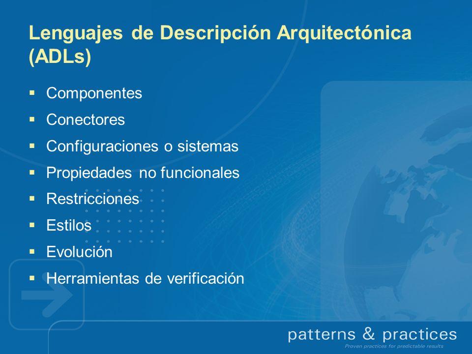Lenguajes de Descripción Arquitectónica (ADLs) Componentes Conectores Configuraciones o sistemas Propiedades no funcionales Restricciones Estilos Evol